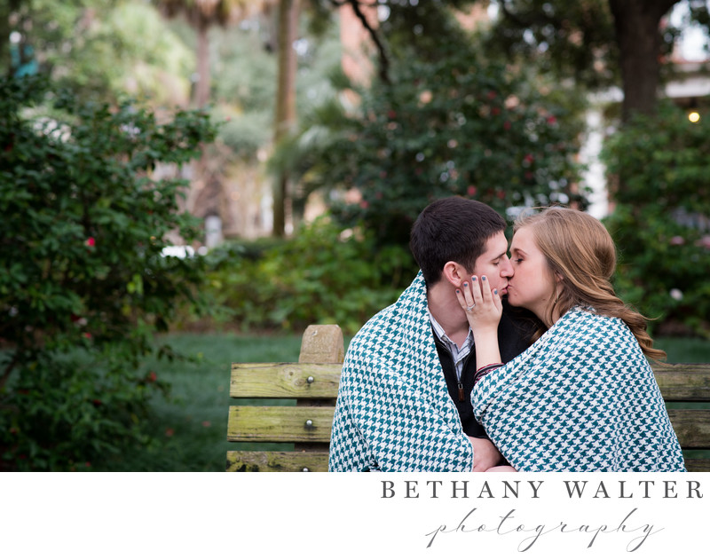 Savannah Engagement Session Couple In Monterey Square