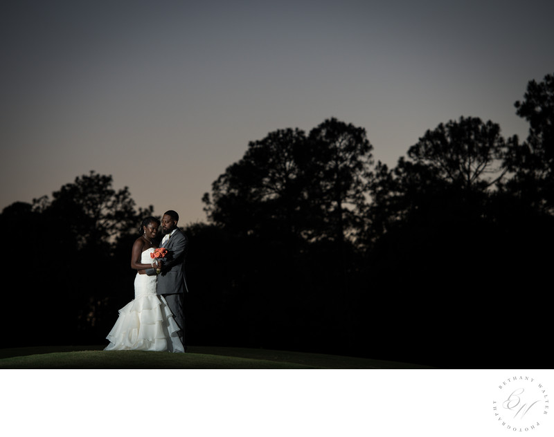 Bride and Groom at Sunset in St Augustine St Johns Golf