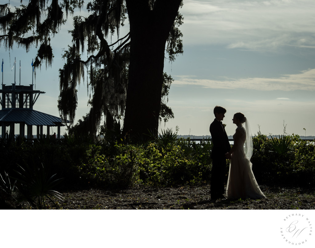 Bride and Groom in St Augustine Near St Johns River