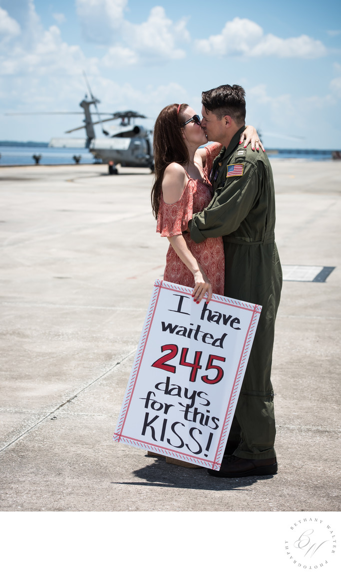 Helicopter Pilot Reunited with Wife Military Homecoming