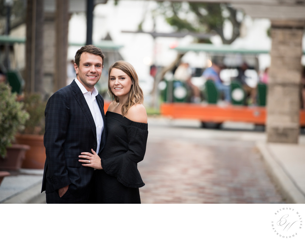 St Augustine Engaged Couple on Aviles Street
