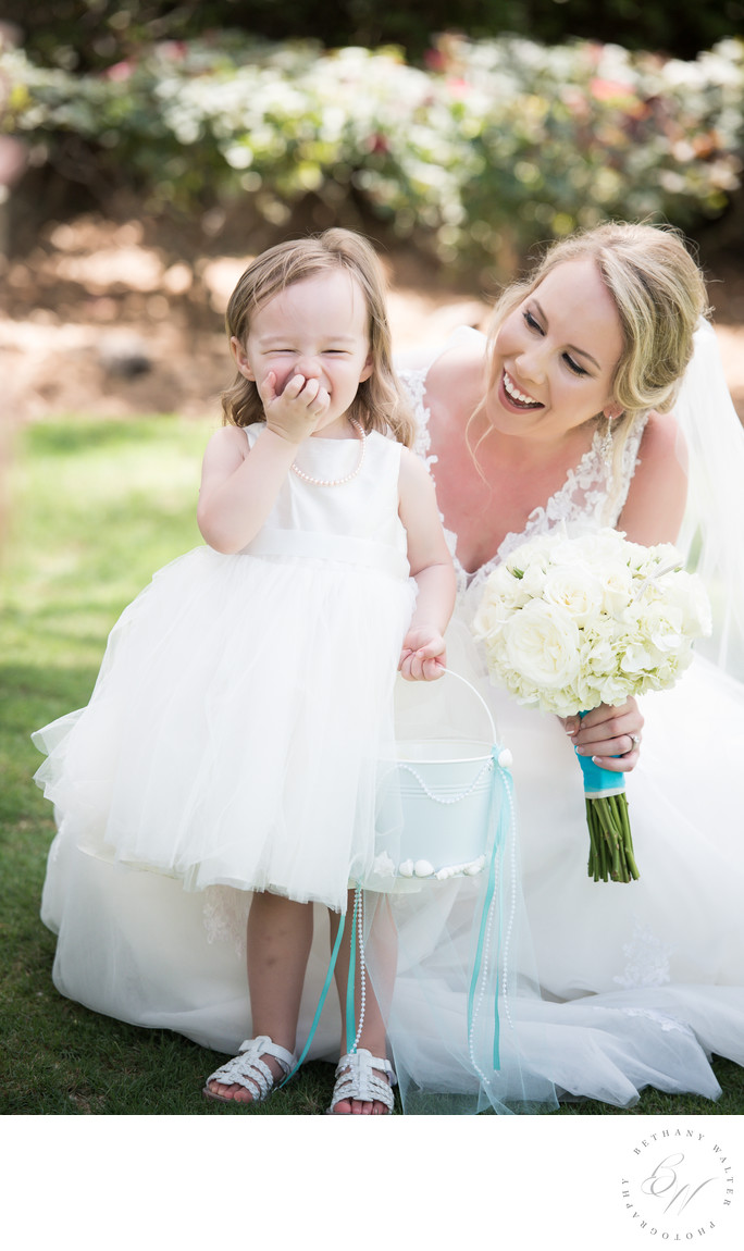 Bride and Flower Girl at Nocatee Crosswater Hall
