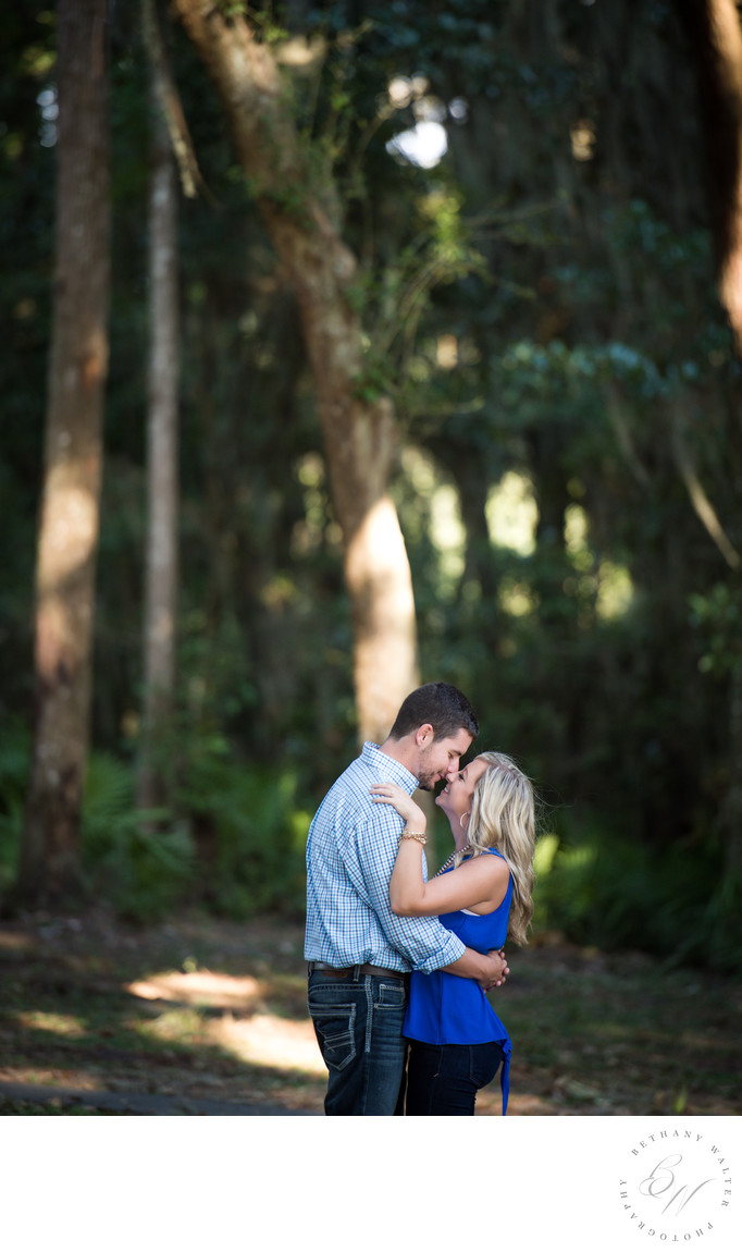 Engaged Couple Embraced During Engagement Session