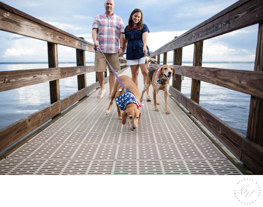 Couple with dogs on the St Johns River