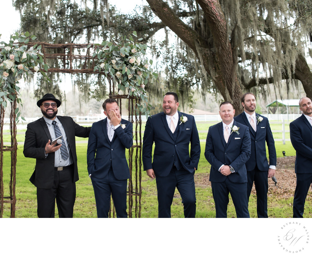 Plantation Oaks Groom Seeing Bride Walk Down the Aisle