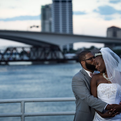 Jacksonville Bride and Groom at Haskell Building