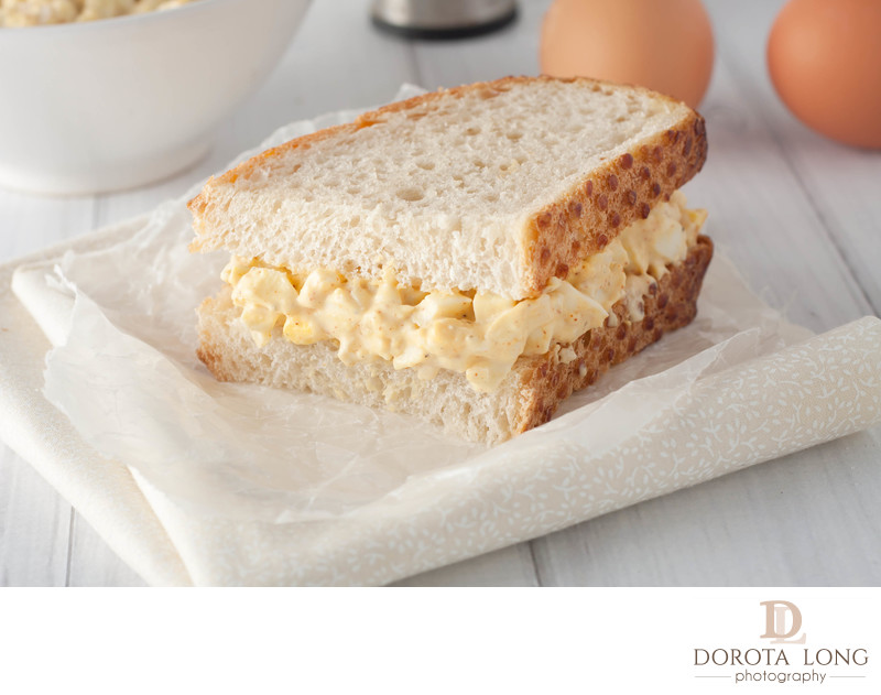 egg salad sandwich made with white bread