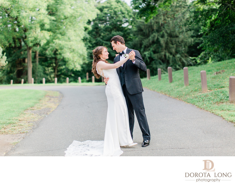 Bride and Groom dancing in Danbury Terrywile Mansion