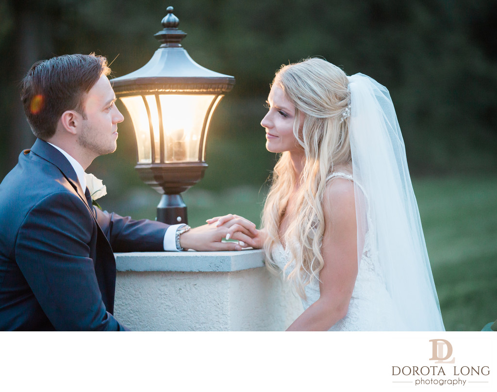 Villa Venezia wedding. Romantic shot of bride and groom
