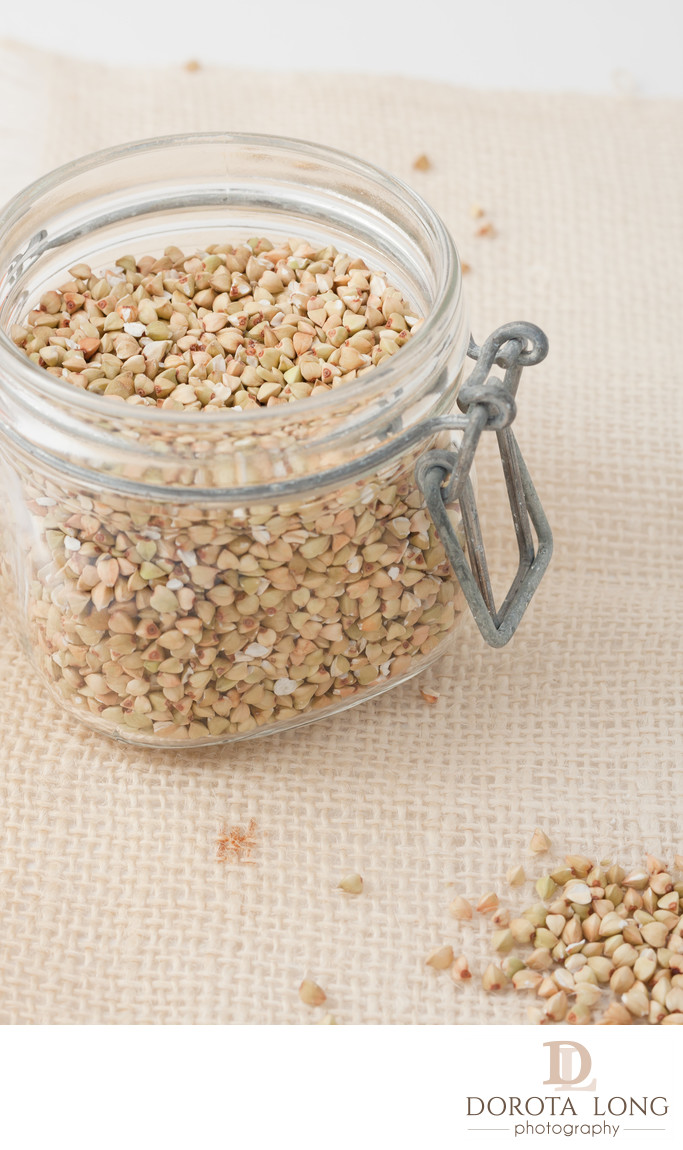uroasted buckwheat groats in a glass jar
