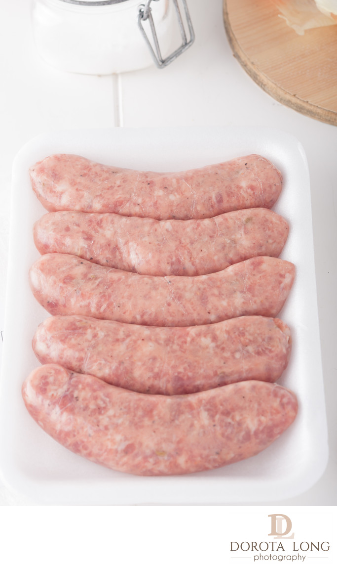 store bought meat sausages in packaging