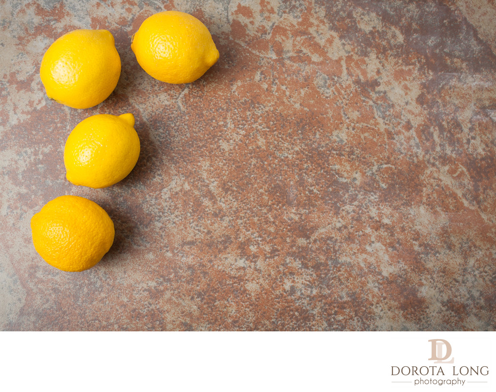lemons on textured background