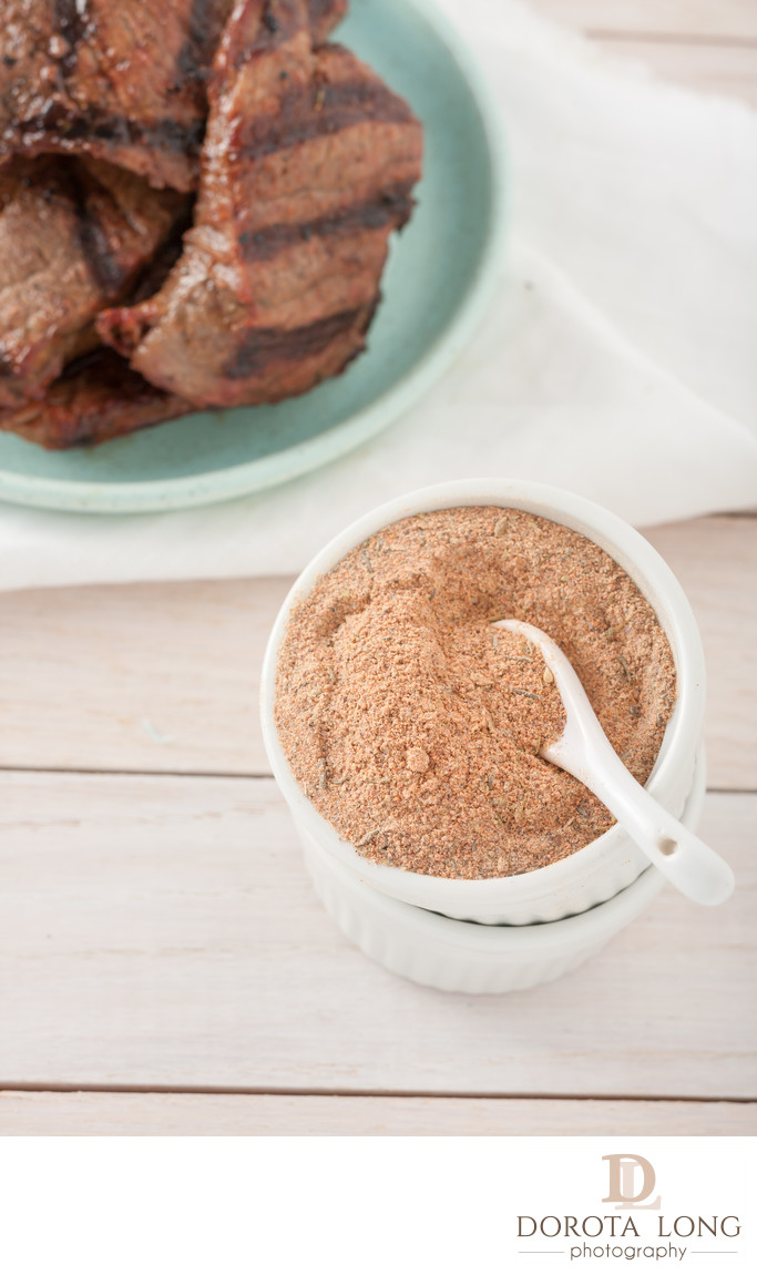 homemade spice mix or marinade for meat and poultry: onion powder, paprika, garlic powder, salt, pepper, cayenne pepper