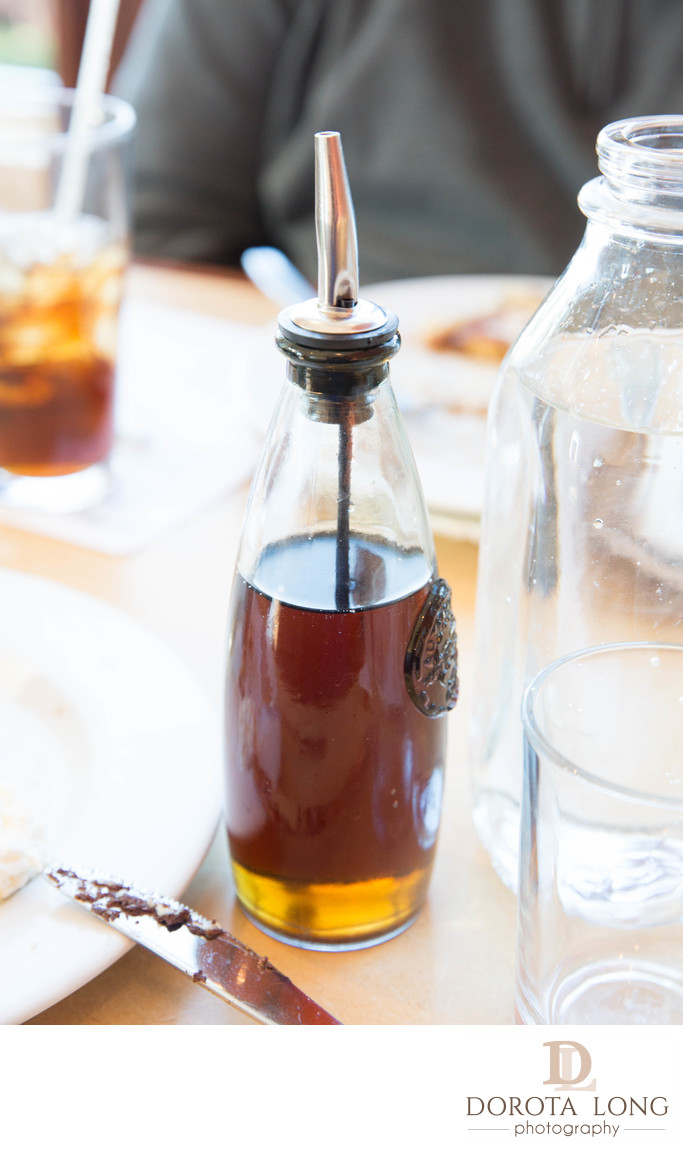A bottle with maple syrup