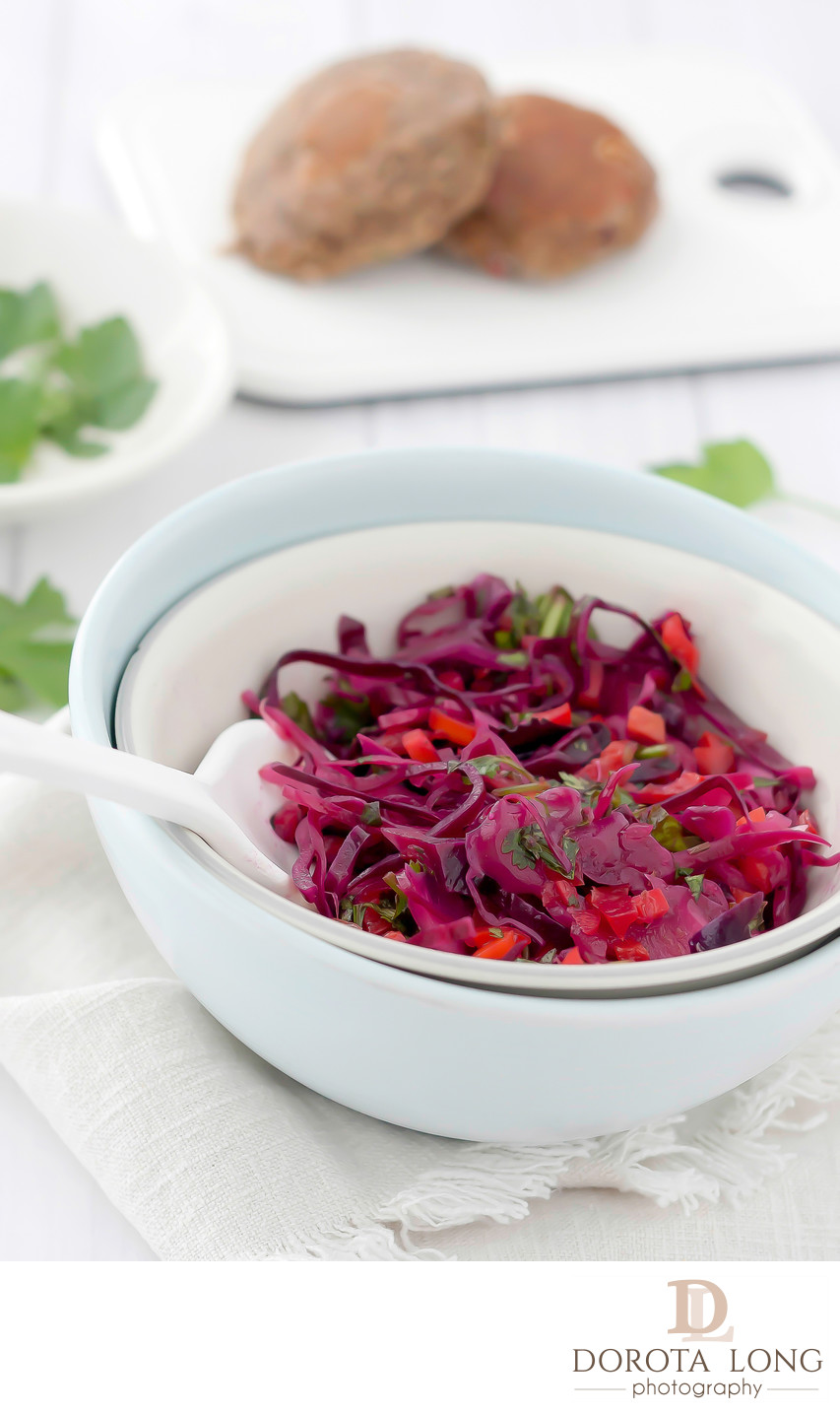 coleslaw made with red cabbage