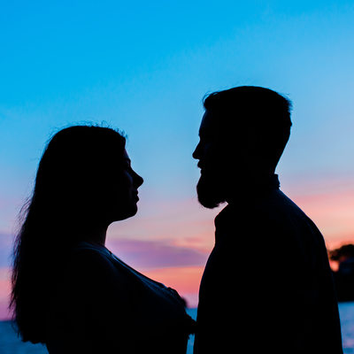 Engagement photographer in Branford, CT Silhouette image