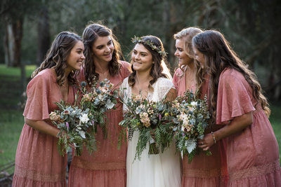 Timeless Photo of Boho Bride and Bridesmaids in Country