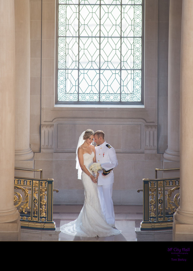 city hall romantic wedding day photo