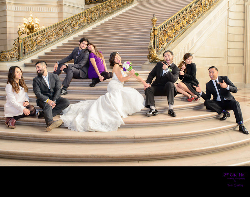 bridal party on grand staircase