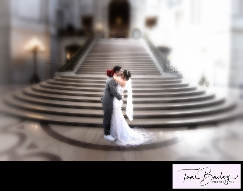 San Francisco grand staircase kiss flower effects photo