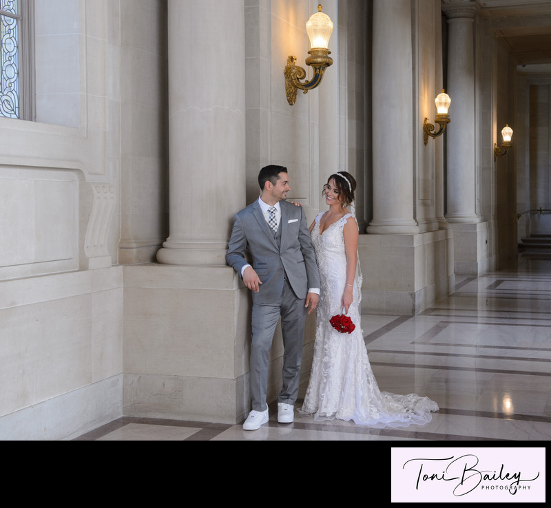 bride and groom in love at city hall