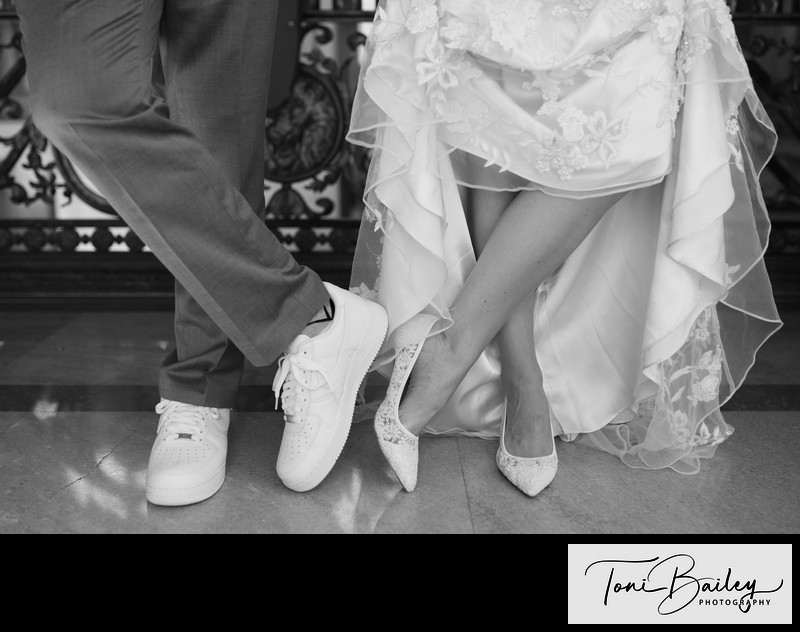 black and white shoe shot