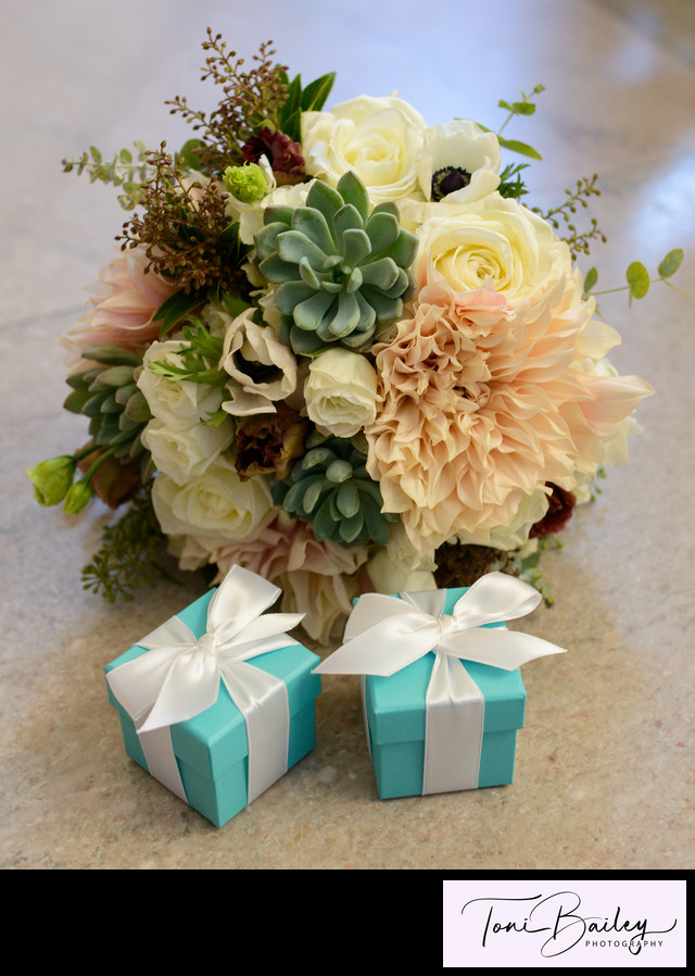 rings in a box with flowers for wedding