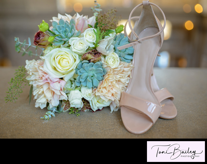 simple shoes and wedding flowers