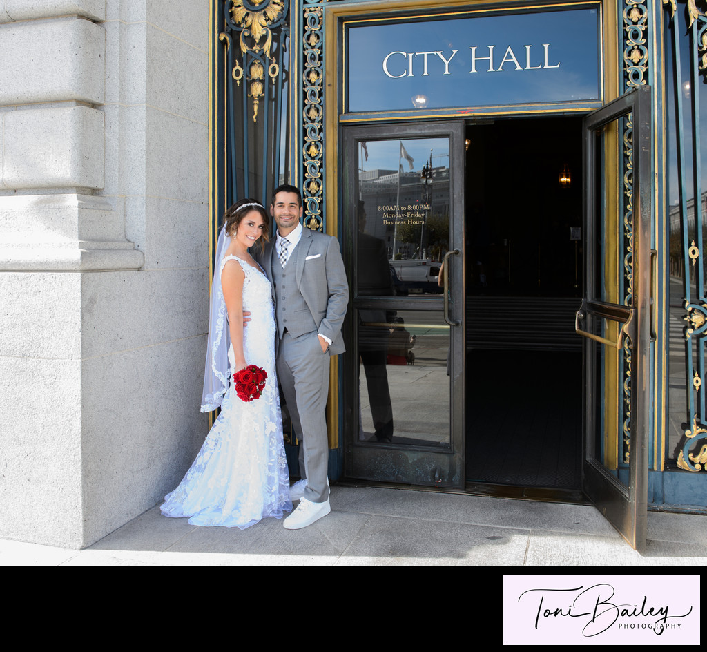 Married at city hall on sunny day