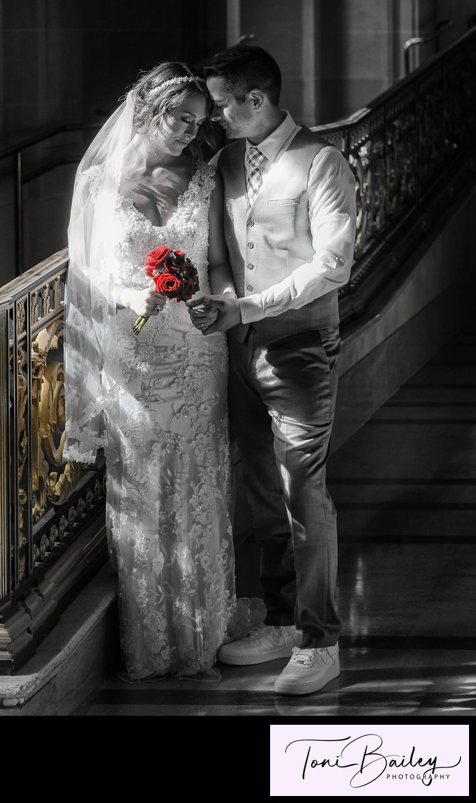 Bride and groom love at San Francisco city hall