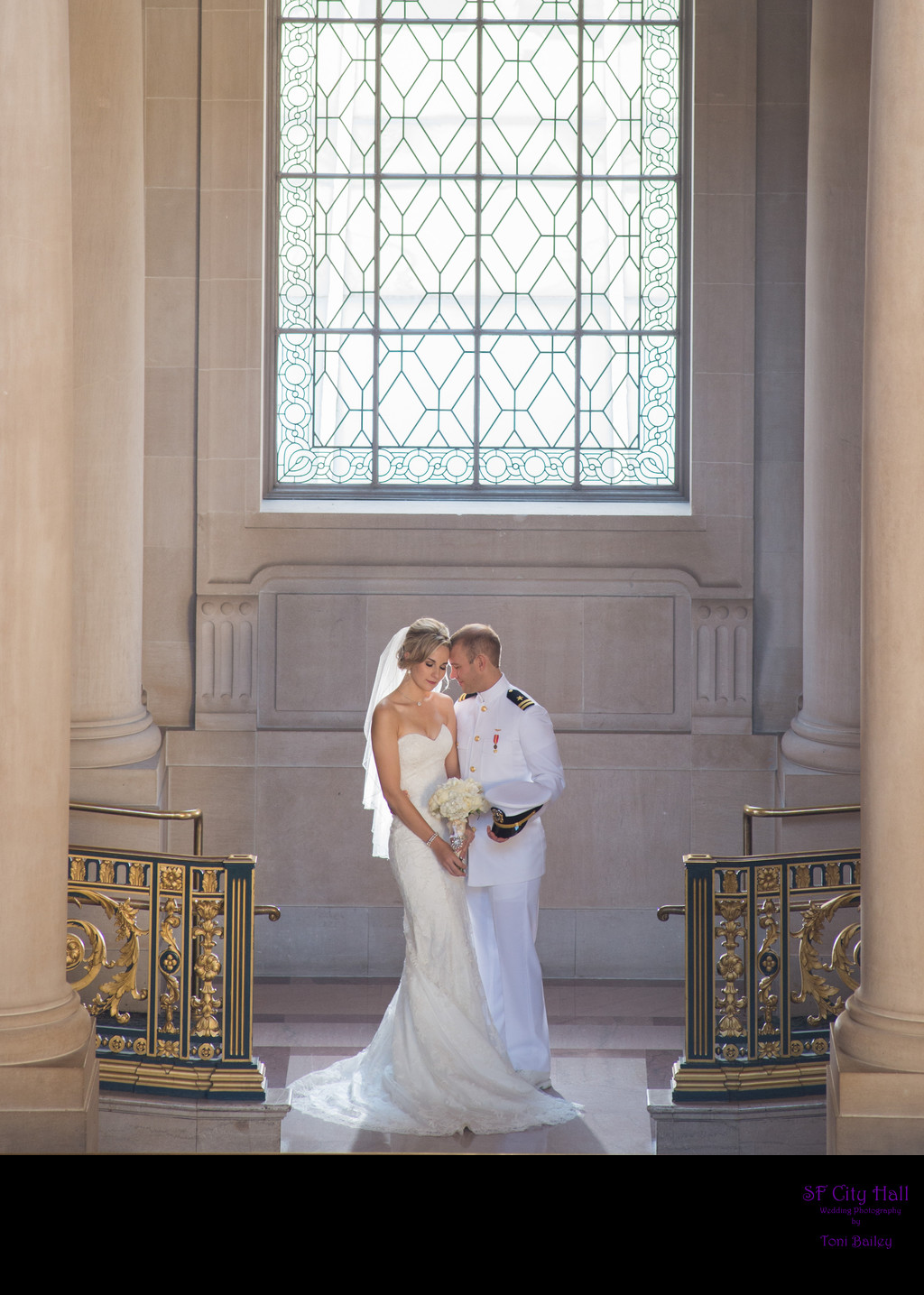 San Francisco city hall wedding photography - Navy Bride and Groom