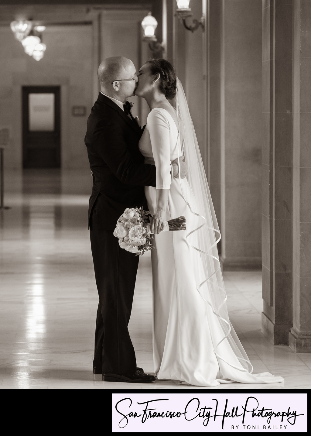 sepia photograph of romance at city hall