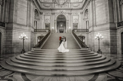 Wedding on Grand Staircase at San Francisco City Hall