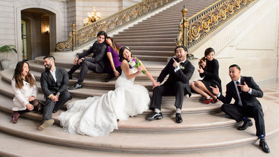 bridal party fun on the grand staircase