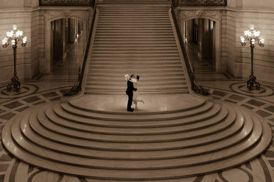 San Francisco City Hall Wedding Photographer staircase night lit