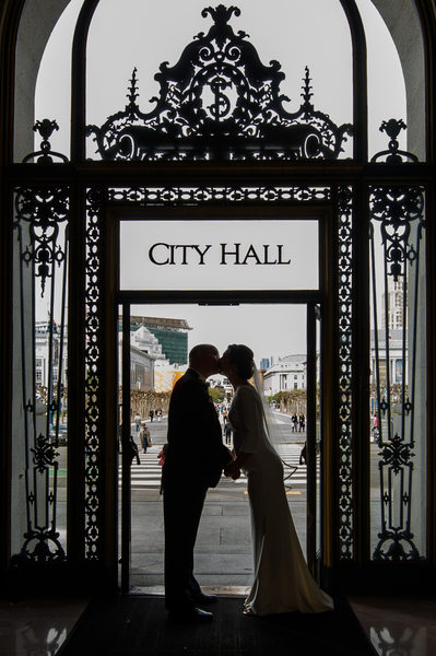 city hall door silhouette portrait