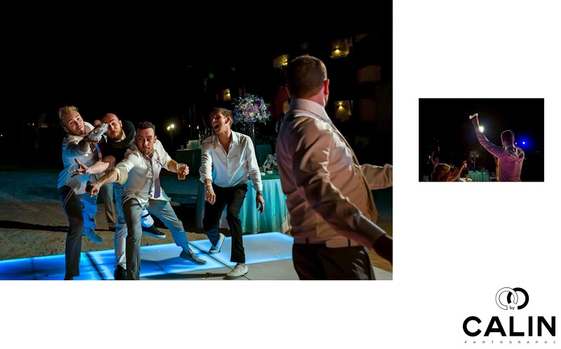 Garter Toss at Barcelo Maya Palace Deluxe Wedding