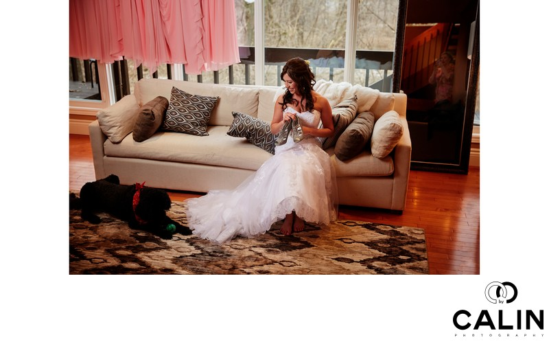 Bride and Her Black Dog at Berkeley Church Wedding