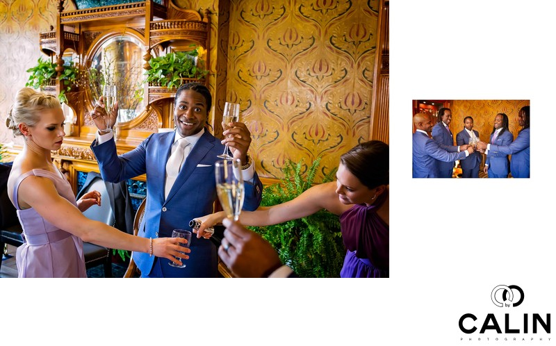 Bridal Party Toasting at Idlewyld Inn Wedding