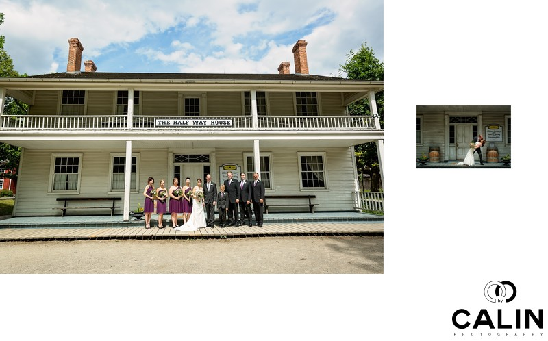 Bridal Party Portrait in front of The Half Way House