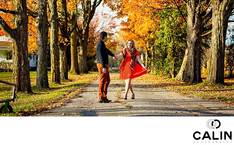 Fall Engagement Photo in Unionville
