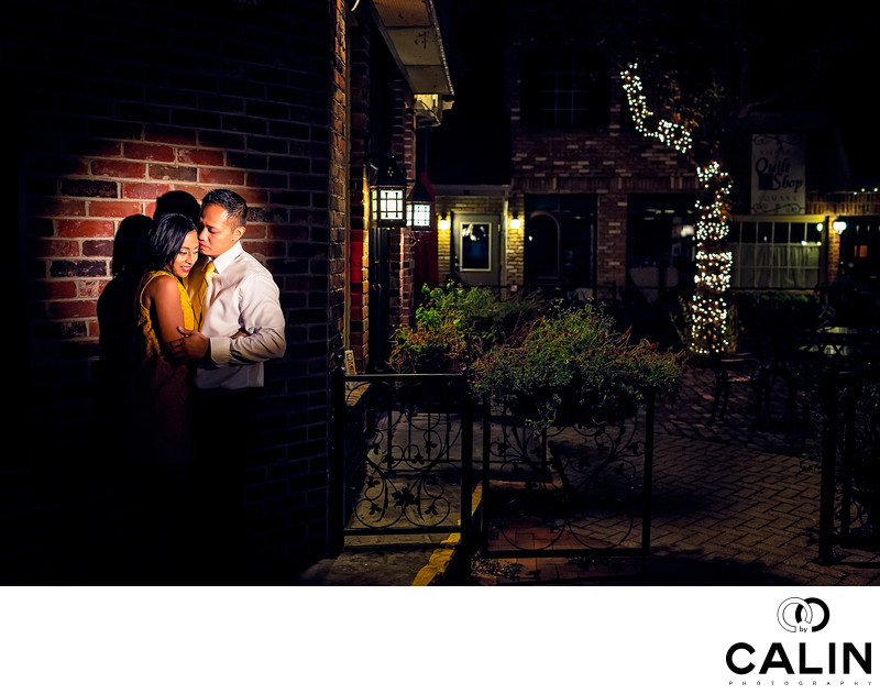Night Engagement Photo Village Square Burlington