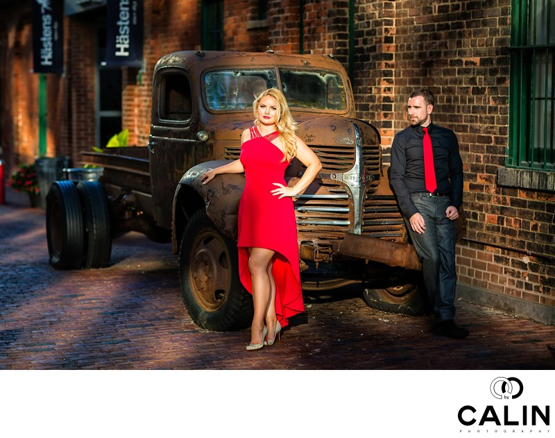 Engagement Photos of Couple by Old Truck