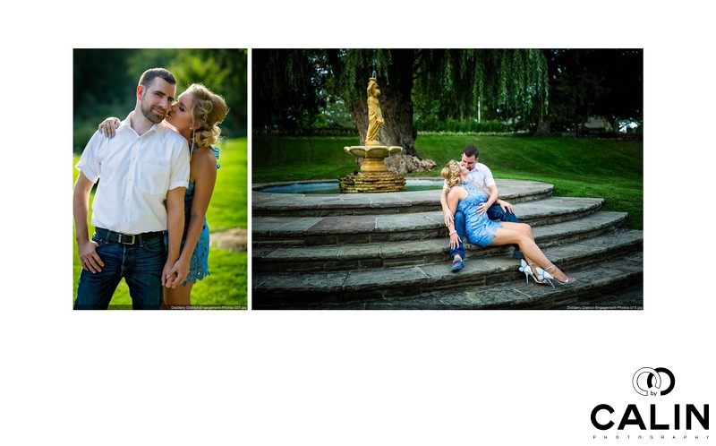 Kissing Engagement Photo in Toronto Botanical Garden