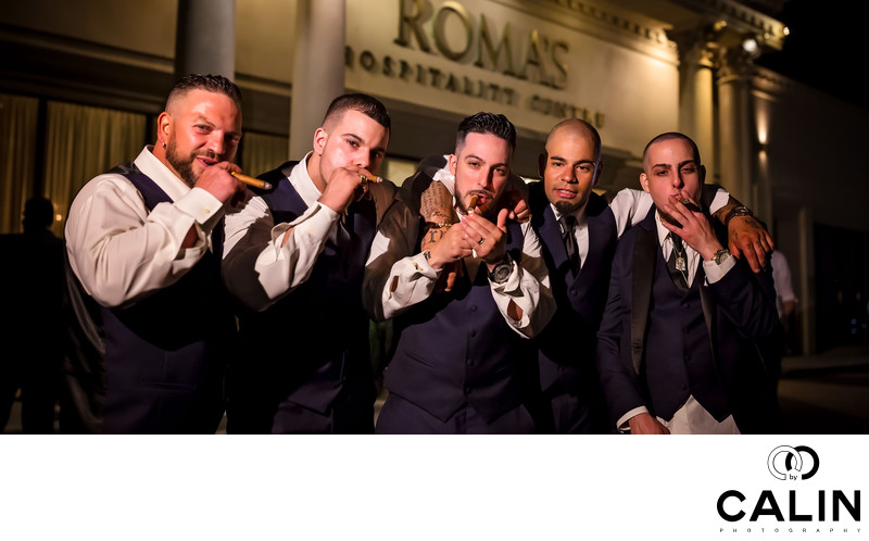 Groomsmen Smoking Cigars