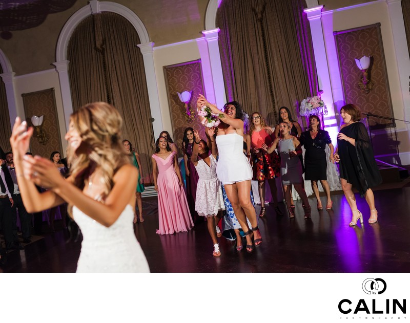 Bouquet Toss at Liberty Grand Wedding