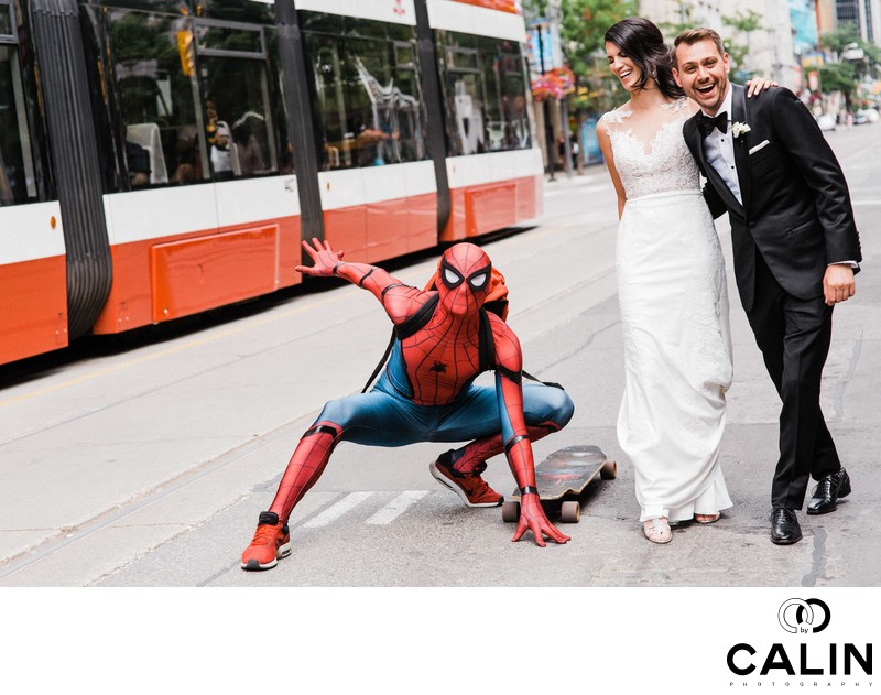 Spiderman Shows Up at Storys Building Wedding