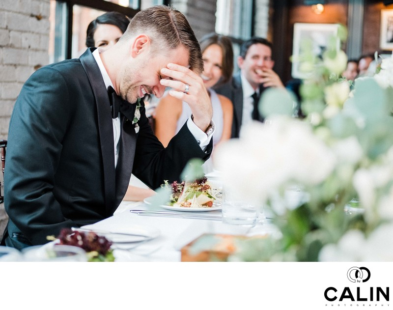 Groom Reacts to Speeches at Storys Building Wedding
