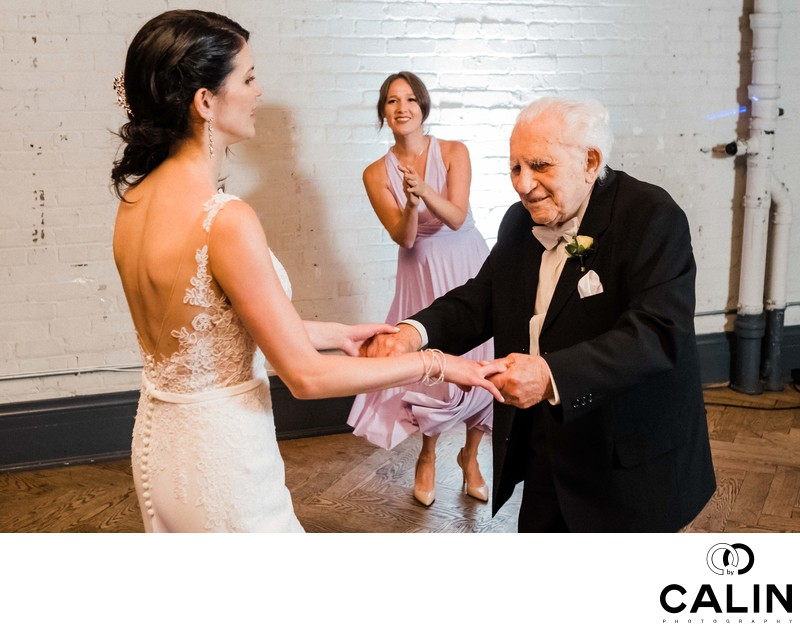 Bride and Grandfather Dance at Storys Building Wedding