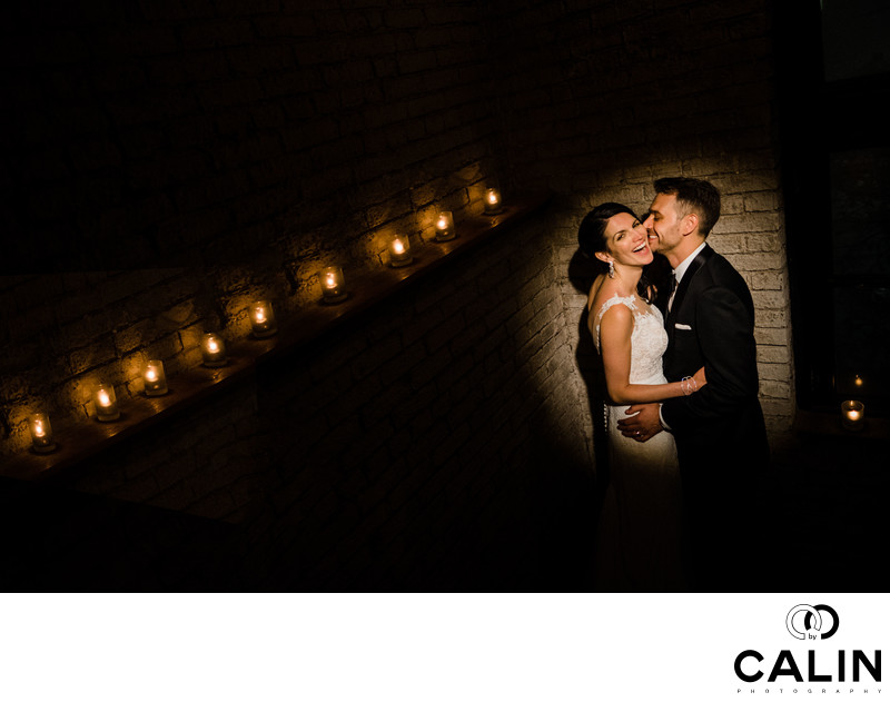 Night Photo of Married Couple at Storys Building Wedding